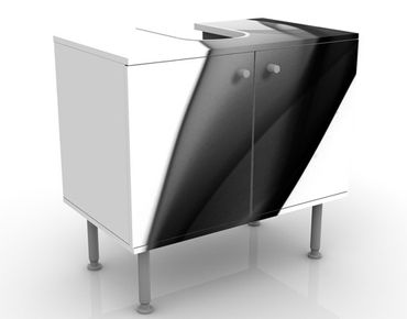 Waschbeckenunterschrank - Grey Nebula - Badschrank Weiß Schwarz