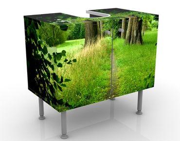 Waschbeckenunterschrank - Verborgene Lichtung - Badschrank Grün