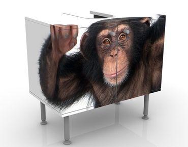 Waschbeckenunterschrank - Vergnügter Affe - Badschrank Braun