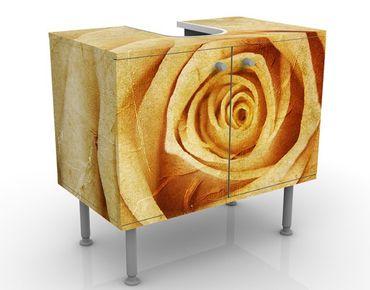 Waschbeckenunterschrank - Vintage Rose - Blumen Badschrank Orange Gelb