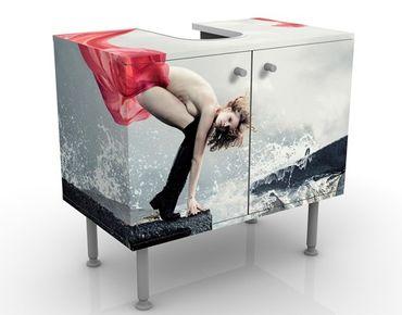 Waschbeckenunterschrank - Frau am Meer - Badschrank Weiß