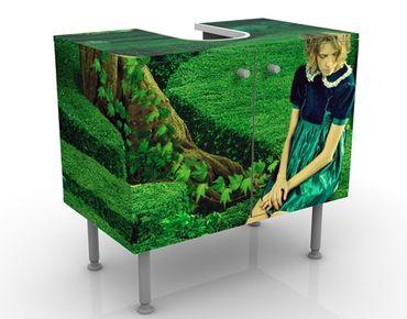 Waschbeckenunterschrank - Frau im Labyrinth - Badschrank Grün