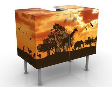 Waschbeckenunterschrank - Tanzania Sunset - Badschrank Orange Braun Schwarz
