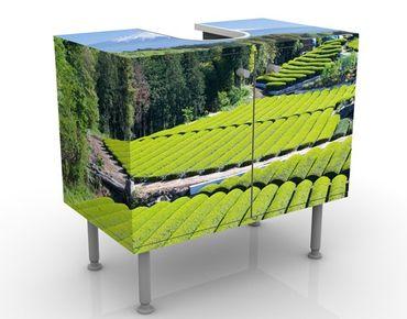Waschbeckenunterschrank - Teefelder vor dem Fuji - Badschrank Grün