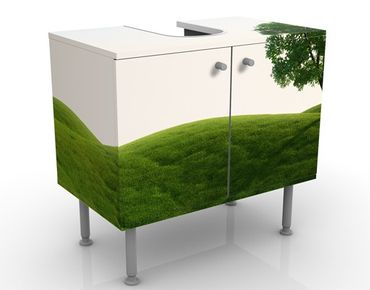Waschbeckenunterschrank - Grüne Ruhe - Badschrank Weiß Grün