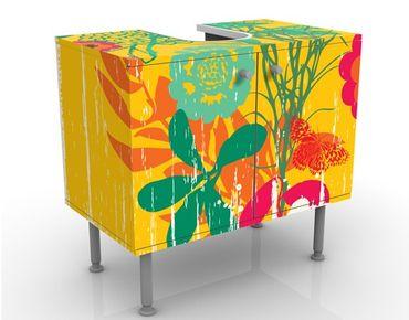 Waschbeckenunterschrank - Grunge Garden - Blumen Badschrank Bunt