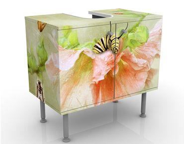 Waschbeckenunterschrank - Gute Nacht Geschichte - Blumen Badschrank Orange