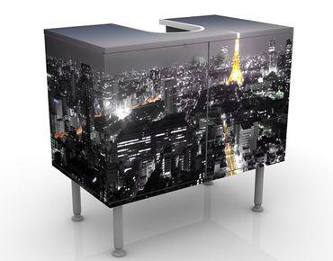 Waschbeckenunterschrank - Tokio - Badschrank Schwarz Grau