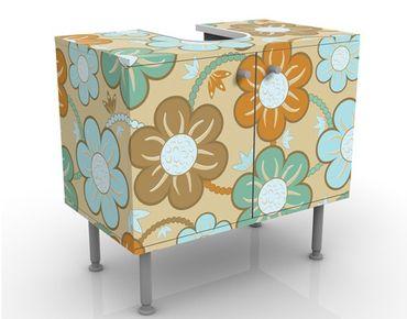 Waschbeckenunterschrank - Quietly - Blumen Badschrank Blau