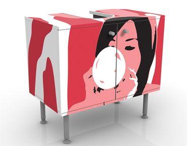 Waschbeckenunterschrank - No.TA39 Bubblegum Playgirl - Badschrank Rosa Rot