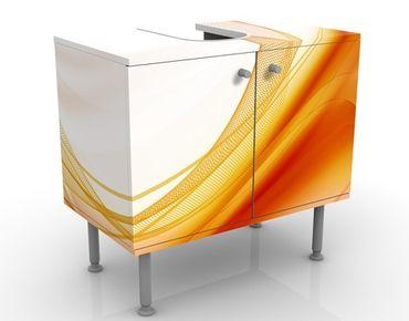 Waschbeckenunterschrank - Orange Dust - Badschrank Weiß Orange