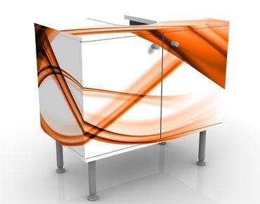 Waschbeckenunterschrank - Orange Element - Badschrank Weiß Orange