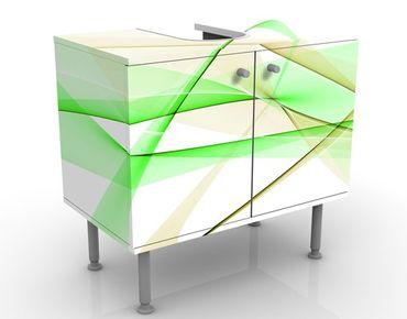 Waschbeckenunterschrank - Transparent Waves - Badschrank Weiß Grün