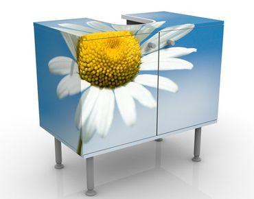 Waschbeckenunterschrank - Ladysun - Blumen Badschrank Gelb Blau