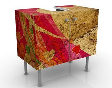 Waschbeckenunterschrank - Lava Love - Vintage Badschrank Gelb Rot