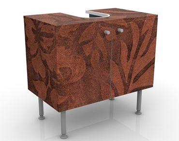 Waschbeckenunterschrank - Lederstruktur - Vintage Badschrank Braun
