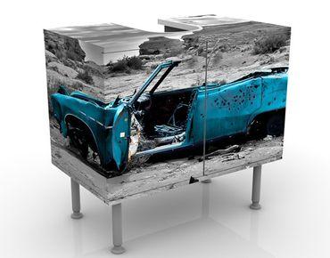 Waschbeckenunterschrank - Türkiser Cadillac - Vintage Badschrank Blau Grau