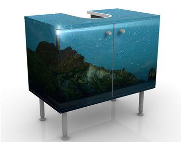 Waschbeckenunterschrank - Leuchtturm - Maritim Badschrank Blau