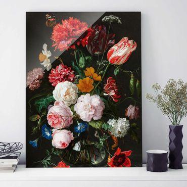 Glasbild - Jan Davidsz de Heem - Stillleben mit Blumen in einer Glasvase - Hochformat 4:3