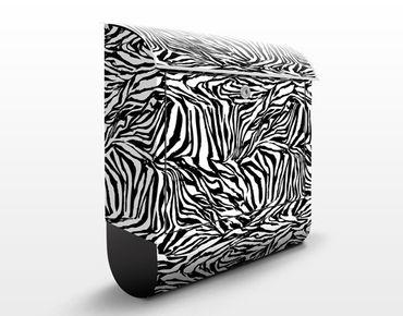 Briefkasten mit Zeitungsfach - Zebra Design - Streifenmuster Schwarz-Weiß