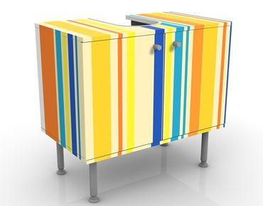 Waschbeckenunterschrank - Super Stripes No.4 - Badschrank Bunt