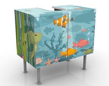 Waschbeckenunterschrank - No.EK57 Meereslandschaft - Badschrank Bunt