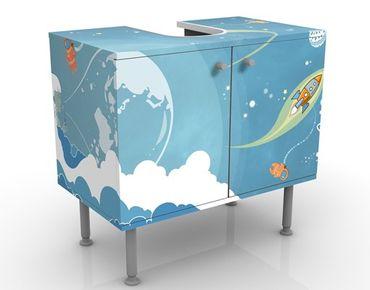 Waschbeckenunterschrank - No.MW16 Buntes Weltraumtreiben - Badschrank Blau