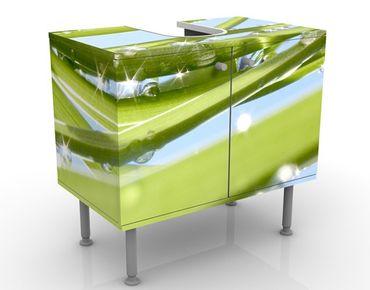 Waschbeckenunterschrank - Fresh Green - Blumen Badschrank Grün
