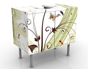 Waschbeckenunterschrank - Frühlingszeit - Blumen Badschrank Weiß