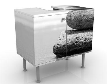 Waschbeckenunterschrank - Sand Stones No.2 - Badschrank Weiß Grau