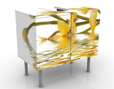 Waschbeckenunterschrank - Saffron Orchid Waters - Blumen Badschrank Weiß Gelb