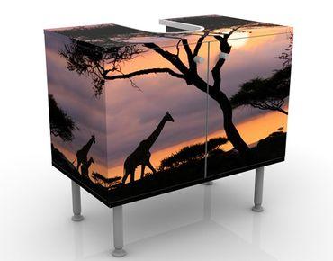 Waschbeckenunterschrank - Safari in Afrika - Badschrank Schwarz