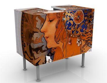 Waschbeckenunterschrank - Loren - Vintage Badschrank Orange Braun