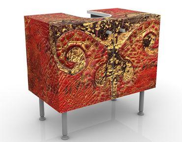 Waschbeckenunterschrank - Secret in Patina - Vintage Badschrank Rot