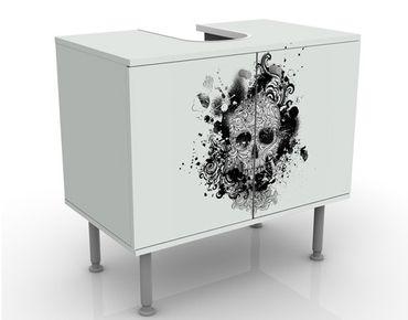 Waschbeckenunterschrank - Skull - Badschrank Weiß Schwarz