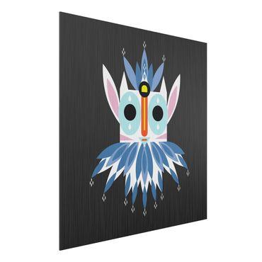 Aluminium Print gebürstet - Collage Ethno Maske - Gnom - Quadrat 1:1