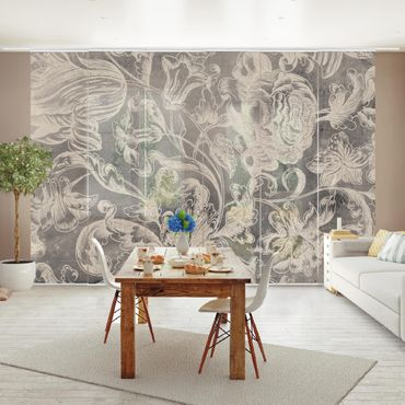 Schiebegardinen Set - Verblühtes Blumenornament I - Flächenvorhang