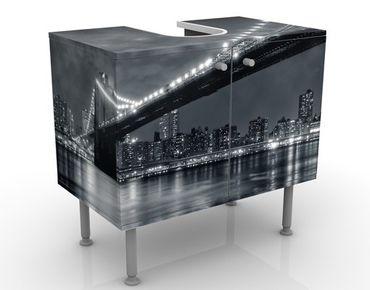 Waschbeckenunterschrank - Manhattan Mysteries - Badschrank Schwarz Grau