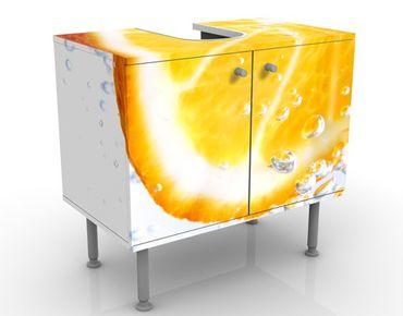 Waschbeckenunterschrank - Splash Orange - Badschrank Weiß Gelb