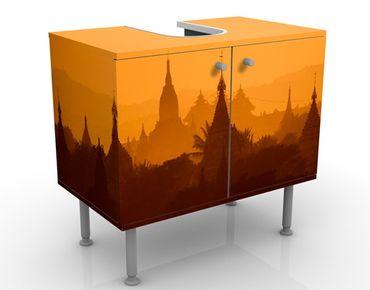 Waschbeckenunterschrank - Tempelstadt in Myanmar - Badschrank Orange Gelb