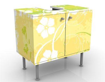 Waschbeckenunterschrank - Springtime - Blumen Badschrank Gelb