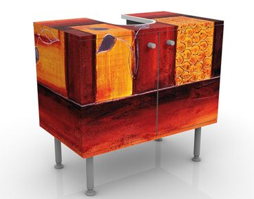 Waschbeckenunterschrank - Memory - Badschrank Orange Rot