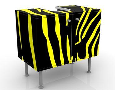 Waschbeckenunterschrank - Zebra Pop - Badschrank Gelb Schwarz