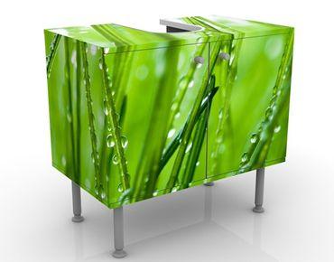 Waschbeckenunterschrank - Morgentau - Blumen Badschrank Grün