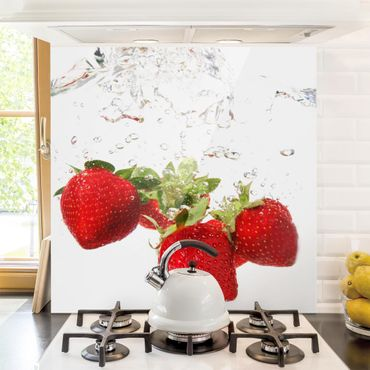 Glas Spritzschutz - Strawberry Water - Quadrat - 1:1