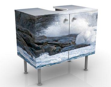 Waschbeckenunterschrank - Sturmwellen am Leuchtturm - Maritim Badschrank