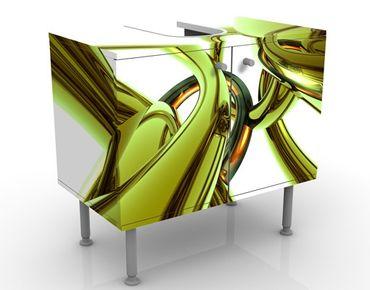 Waschbeckenunterschrank - Stunning Green Style - Badschrank Weiß Grün