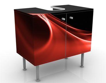 Waschbeckenunterschrank - Red Wave - Badschrank Rot Schwarz