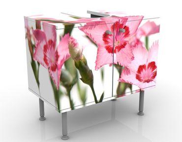 Waschbeckenunterschrank - Pink Flowers - Blumen Badschrank Weiß Rosa