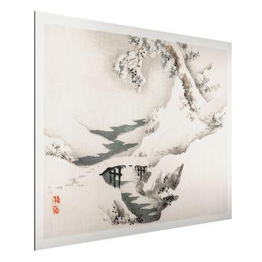 Aluminium Print gebürstet - Asiatische Vintage Zeichnung Winterlandschaft - Querformat 3:4